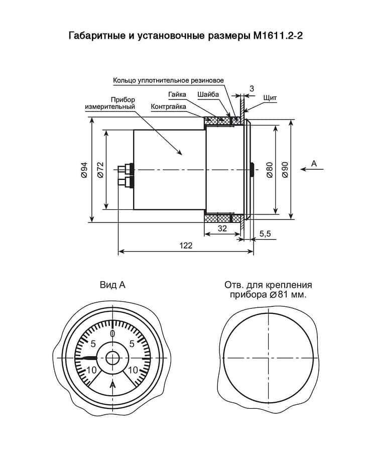 Амперметры и Вольтметры для сетей постоянного и пульсирующего тока М1611.2-2 с возможностью подсветки шкалы (циферблата)